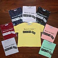 Укороченная футболка топ с надписью - В РАСЦВЕТКАХ ! ОПТОМ!, фото 1