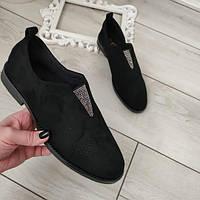 Туфлі чорні жіночі екозамша