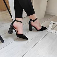 Туфлі жіночі на каблуку чорні екозамша 38