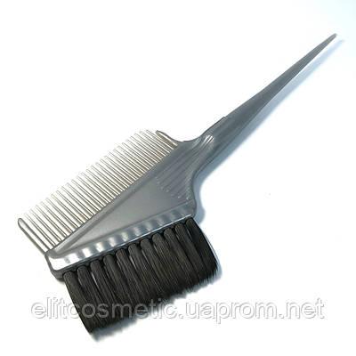 Кисть-расчёска для окрашивания волос DenIS professional серая с чёрной щетиной