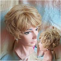 Парик из натуральных волос пышный пшеничный блонд 550V HH-24H613