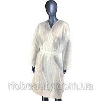 Халат одноразовый с рукавами спанбонд XL 1 шт (белый)