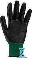 Перчатки рабочие стрейчевые покрытые гладким нитрилом (зелено-черные)