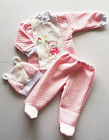 Трикотажный комплект тройка для новорожденного ребенка 3-6 месяцев