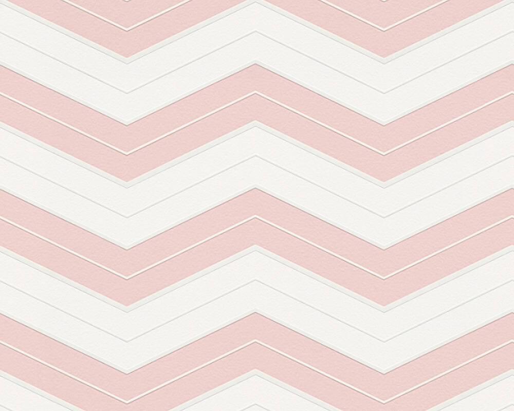 Обои с узором шеврон зигзаг пудрового оттенка розового цвета 324422 горизонтальные зигзагообразные полосы