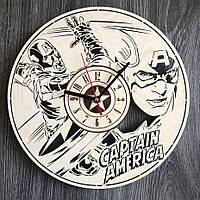 Круглые молодежные настенные часы 7Arts из дерева Капитан Америка CL-0291, КОД: 1474567