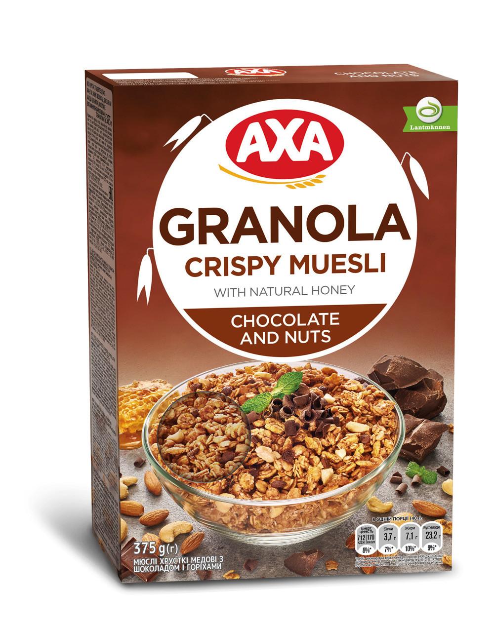 Мюслі хрусткі медові з шоколадом і горіхами (збагачені вітаміном Е) 375г АХА