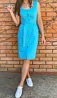 Трендовое красивое летнее женское платье лён 42 44 46 48 50 52 голубой бежевый
