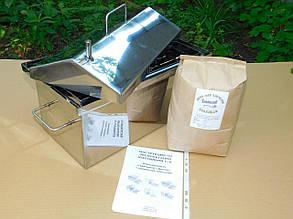 Малая Коптильня Мини Домашняя из нержавеющей стали с гидрозатвором крышка Домиком 1.5мм. На 4 кг продукта