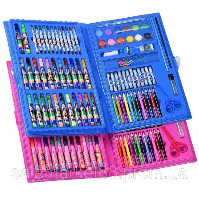 Компактный детский набор для рисования 86 предметов синий/розовый
