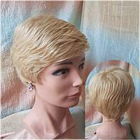 Парик из натуральных волос стрижка короткая пшеничный блонд 3771HH-RHL24B