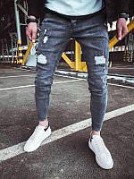Мужские рваные джинсы (серые) - Турция 1065_5A8