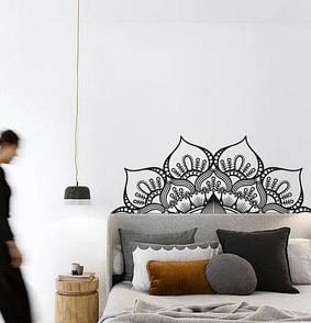 Наклейка на стіну Візерунок мандала (мандала, менді, візерунок, індія, наклейка в узголів'я ліжка, декор головах)