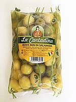 Оливки микс с косточкой Olive Verdi Dolci Salamoia, 500г.