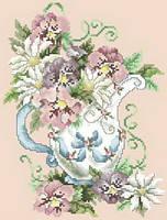 Схема на канве для вышивки нитками А4 Цветы в вазе Ркан 4024