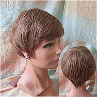 Парик из натуральных волос стрижка короткая русый 3771HH-10