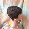 Парик из натуральных волос стрижка короткая каштановый 3771HH-6, фото 4