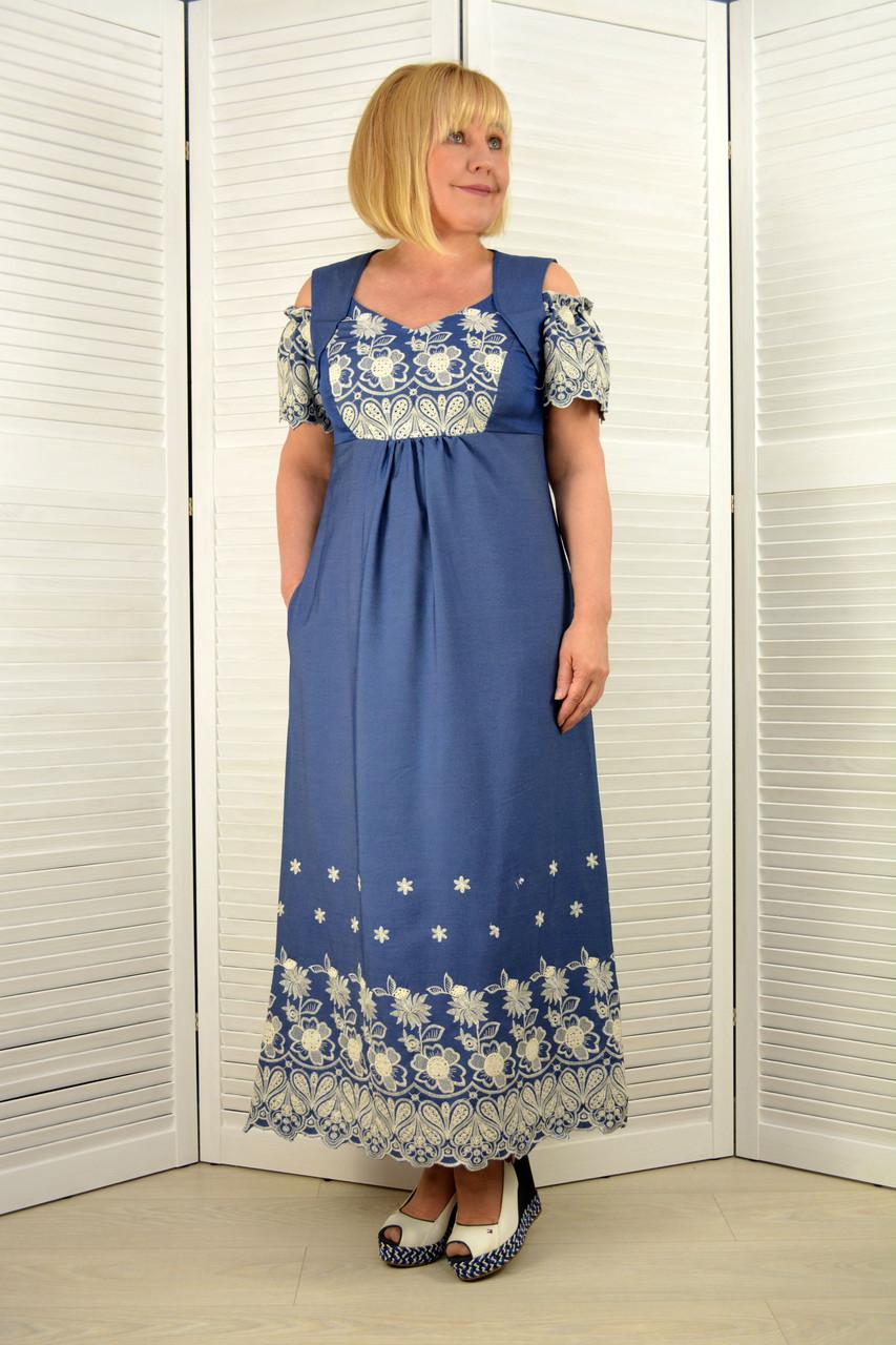 """Сарафан """"Оливия"""" джинс с вышивкой - Модель 1548-11"""