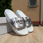 Жіночі літні шльопанці Givenchy (біло-сріблясті) 50008, фото 7