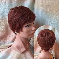 Парик из натуральных волос стрижка короткая ярко-медный 3771HH-33