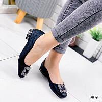 Женские  туфли балетки  с брошкой в камнях, фото 1