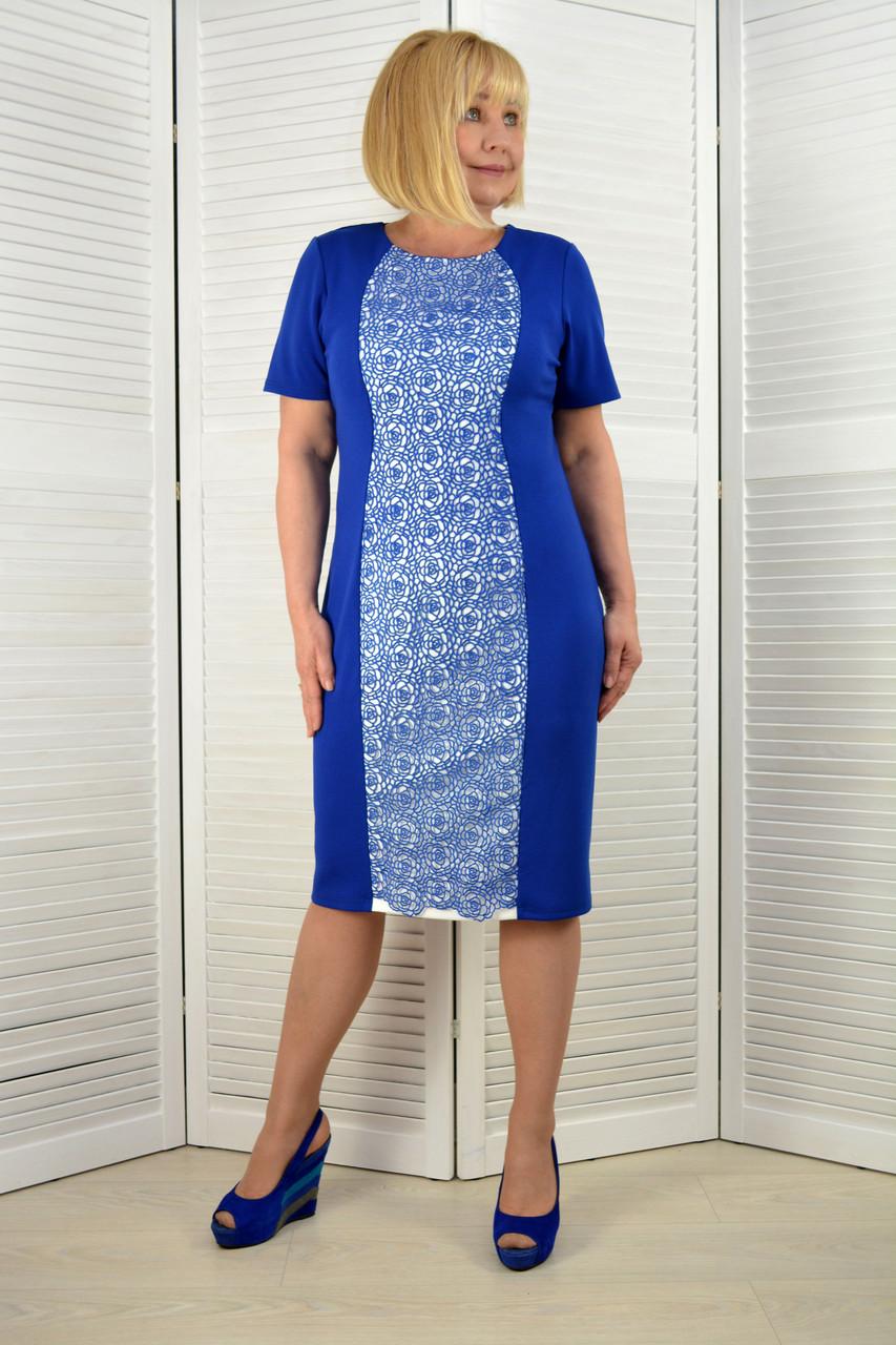 Платье электрик с кружевом - Модель 1768