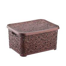 Корзина для хранения Elif Plastik Ажур 25х34х16 см коричневая