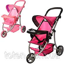 Дитяча прогулянкова коляска для ляльки Melogo Мелого 9377 кошик для іграшок Мікс кольорів