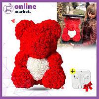 Мишка из роз 40 см с сердечком в подарочной коробке / Мишка из цветов + Наушники Apple в Подарок