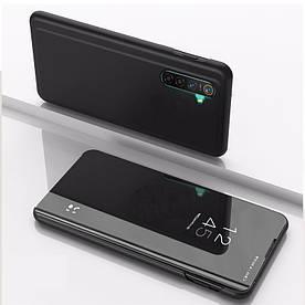 Чехол книжка для Realme X2 боковой с зеркальной крышкой, Черный