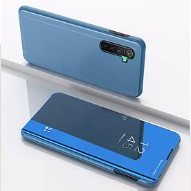 Чехол книжка для Realme X2 боковой с зеркальной крышкой, Голубой