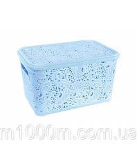 Корзина для хранения Elif Plastik Ажур 25х34х16 см голубая