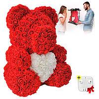 Мишка из роз 40 см в подарочной коробке / Оригинальный подарок девушке / Мишка из цветов + ПОДАРОК!