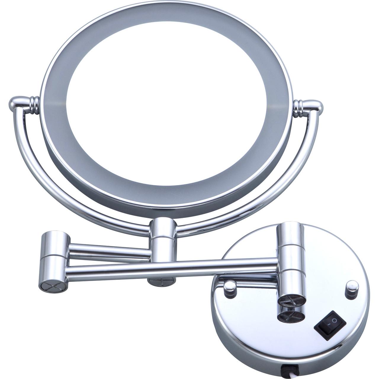 Зеркало косметическое HS-519 настенное, LED подсветка, 3х кратное увеличение