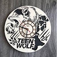 Круглые бесшумные настенные часы 7Arts из дерева Волчонок CL-0259, КОД: 1474417