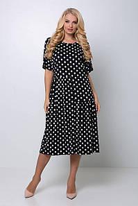 Платье в крупный горох ЭЛЕНА черное 1188813396