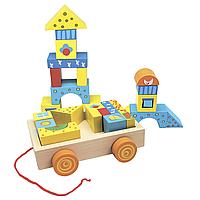Игровая деревянная тележка-каталка с цветными кубиками на веревочке Bino (кубики конструктор)