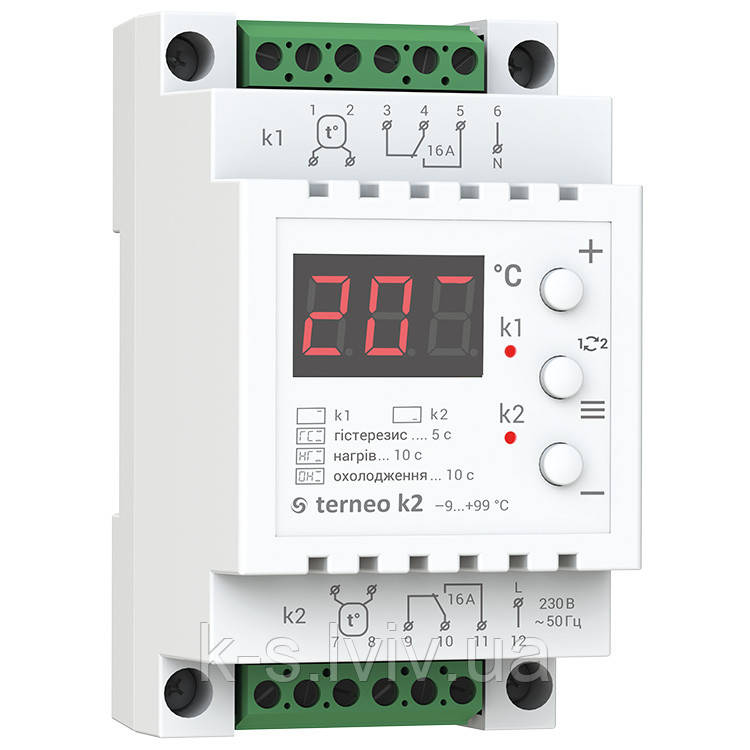 Терморегулятор terneo k2 для охолодження і вентиляції