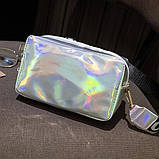 Женская голографическая сумка через плечо детская сумочка LITTLE BEAUTY красная, фото 3