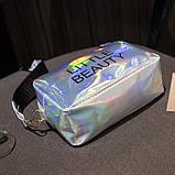 Женская голографическая сумка через плечо детская сумочка LITTLE BEAUTY красная, фото 6