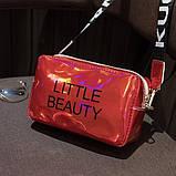 Женская голографическая сумка через плечо детская сумочка LITTLE BEAUTY красная, фото 2
