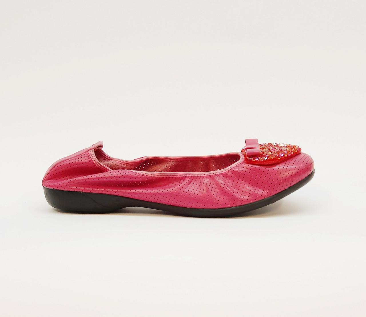 Балетки женские весенне-летние из натуральной кожи на плоской подошве розовые 37