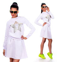 Модный теплый женский белый костюм (юбка + кофта)