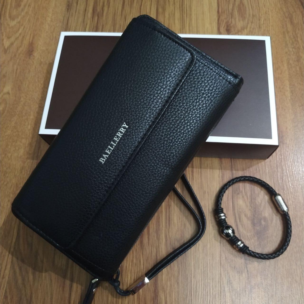 Подарунковий набір №13. Чоловічий клатч (гаманець) Baellerry Favorit + чоловічий браслет із сталі і шкіри Ball