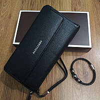 Подарочный набор №13. Мужской клатч (бумажник) Baellerry Favorit + мужской браслет из стали и кожи Ball