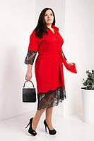 Женское летнее платье-рубашка с кружевом цвета в ассортименте размер 50-54