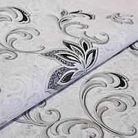 Виниловые серые обои с цветами на бумажной основе, для зала, спальни, гостиной пара 5684-10 и 5723-10 0,53*10.