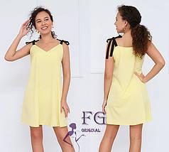 Легкий свободный короткий платье сарафан-трапеция оливковый (зеленый), фото 3