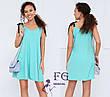 Легкий свободный короткий платье сарафан-трапеция оливковый (зеленый), фото 2