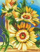 Картина для вышивки крестиком размер А4 Герберы Ркан 4027